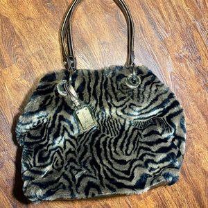 B Makowsky Faux Fur Leather Zebra Tote Handbag